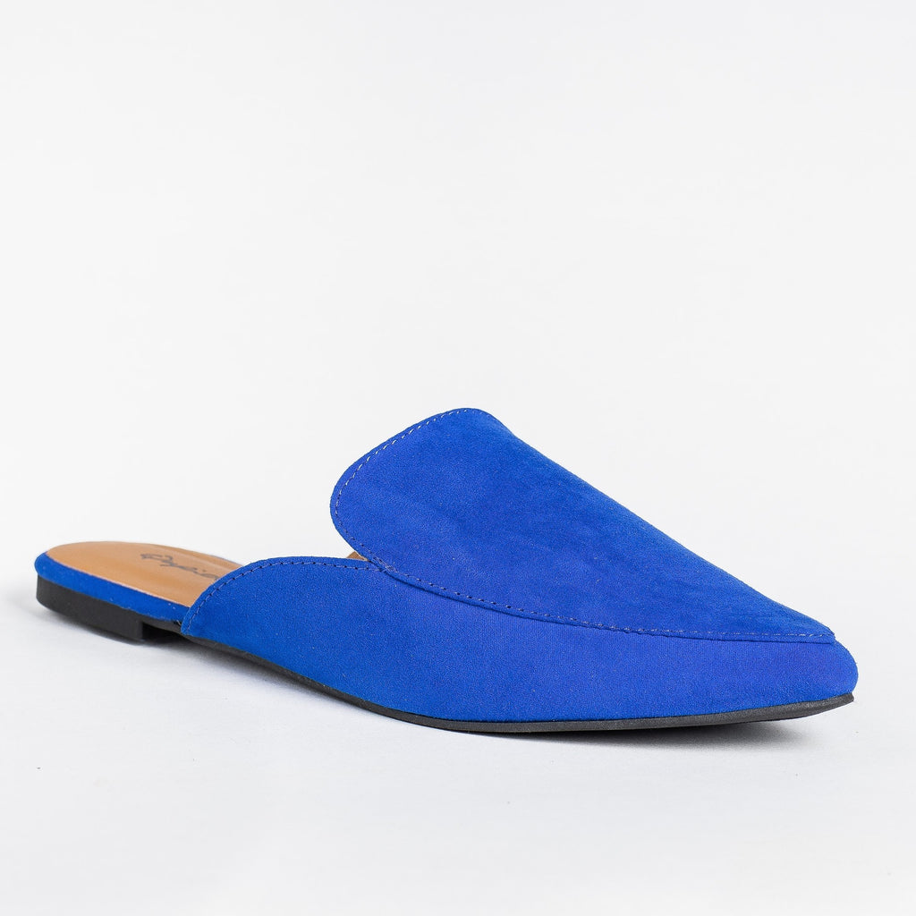 Womens Pointed Toe Mules - Qupid Shoes - Cobalt Blue / 5