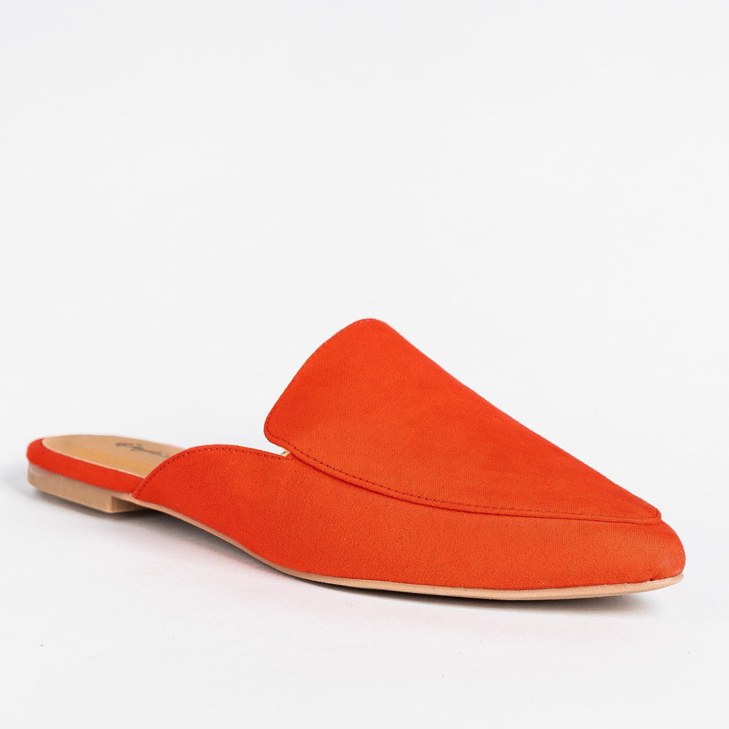 Womens Pointed Toe Mules - Qupid Shoes - Blood Orange / 5