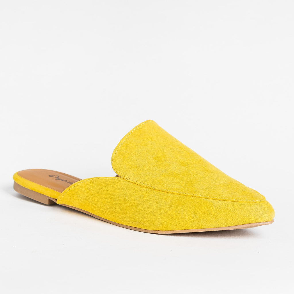 Womens Pointed Toe Mules - Qupid Shoes - Yellow / 5