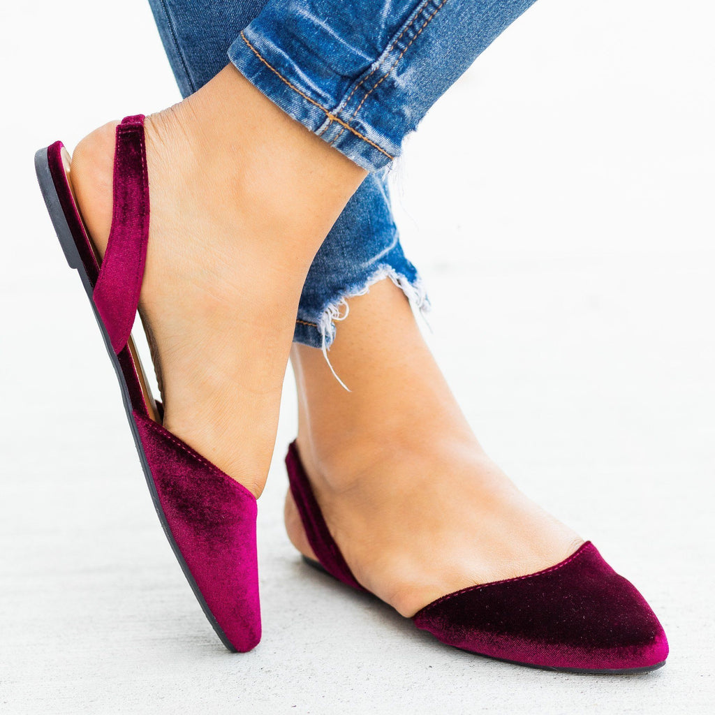 Womens Pointed Toe Slingback Flats - Bamboo Shoes - Burgundy / 5