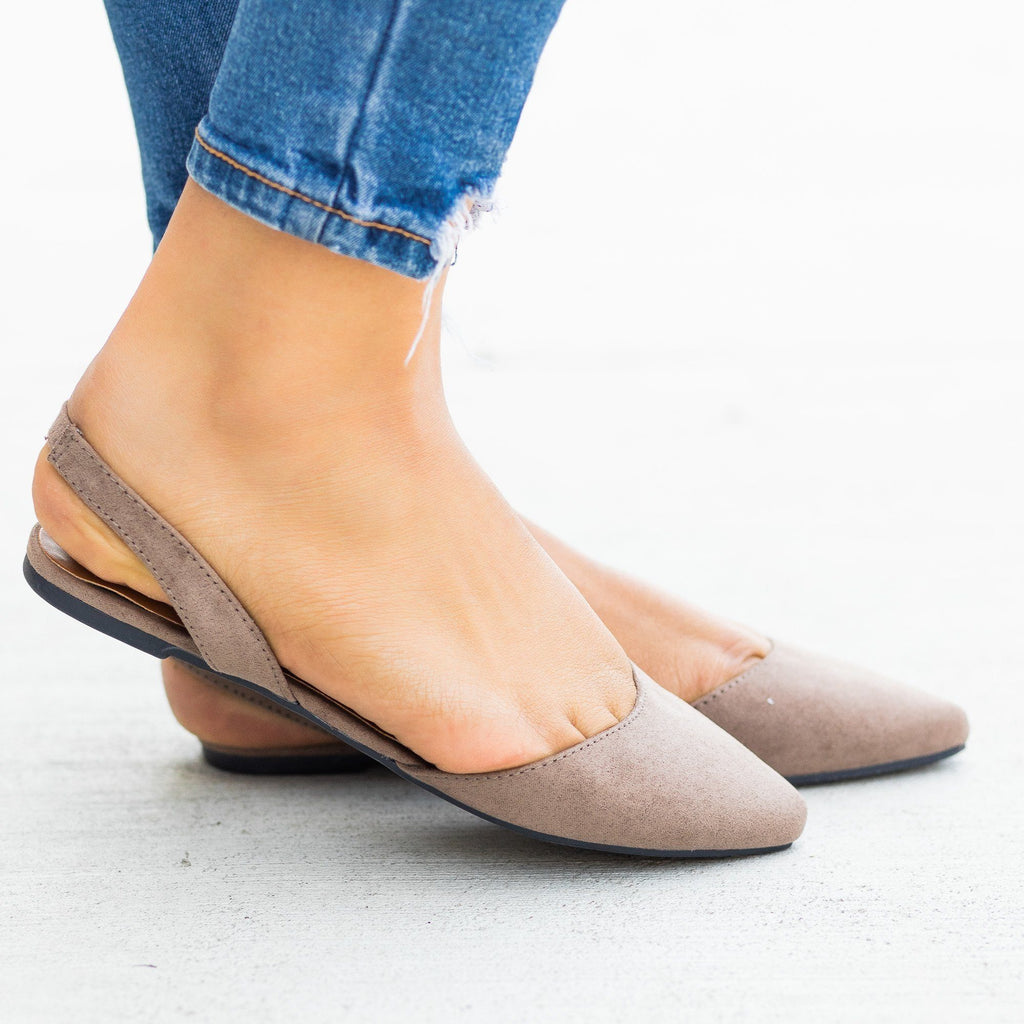 Womens Pointed Toe Slingback Flats - Bamboo Shoes - Taupe / 5