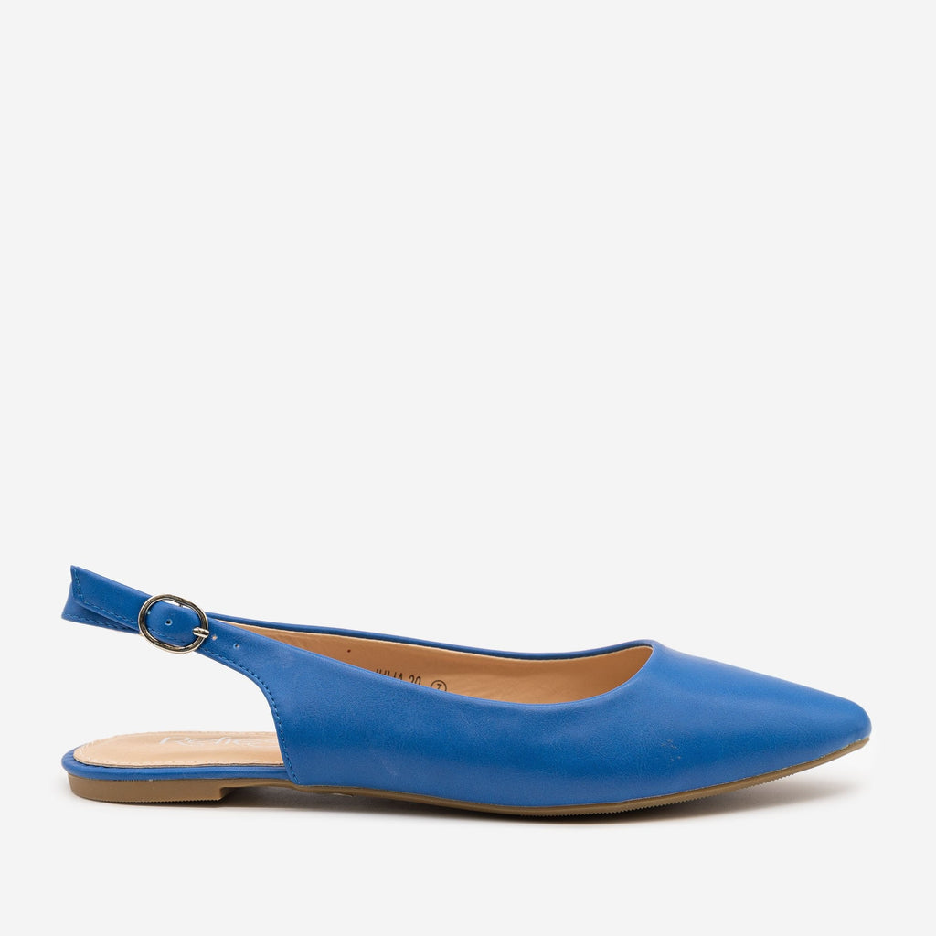 Women's Pointed Toe Slingback Flats - Refresh - Blue / 5