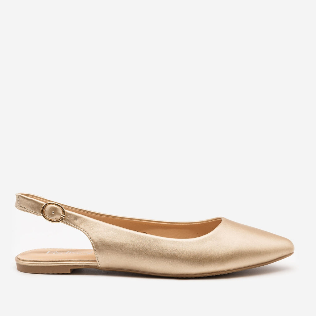 Women's Pointed Toe Slingback Flats - Refresh - Gold / 5