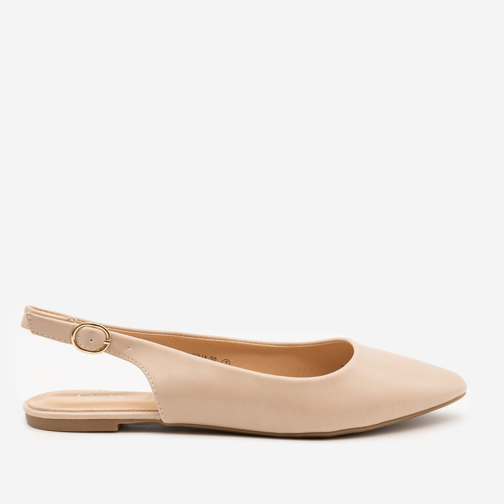 Women's Pointed Toe Slingback Flats - Refresh - Beige / 5