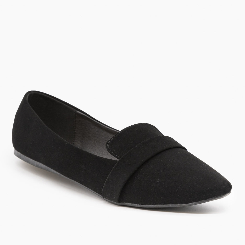 Womens Pointed Toe Slip-on Loafers - Refresh - Black Faux Suede / 5