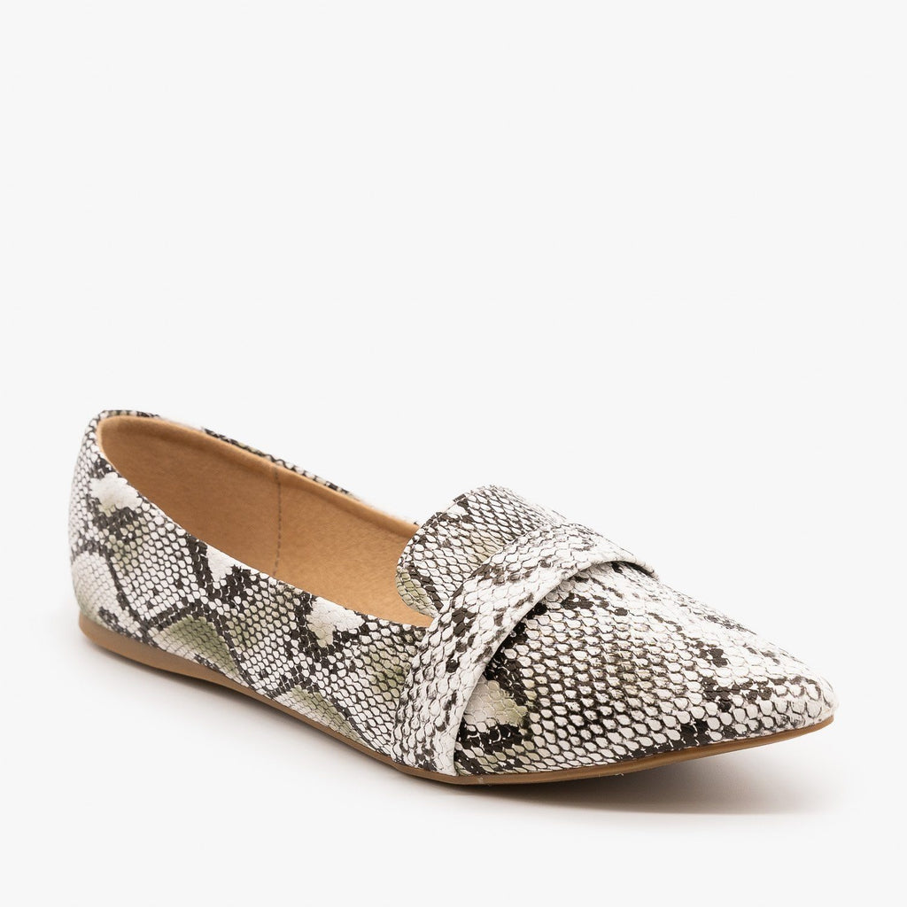 Womens Pointed Toe Slip-on Loafers - Refresh - Snake / 5