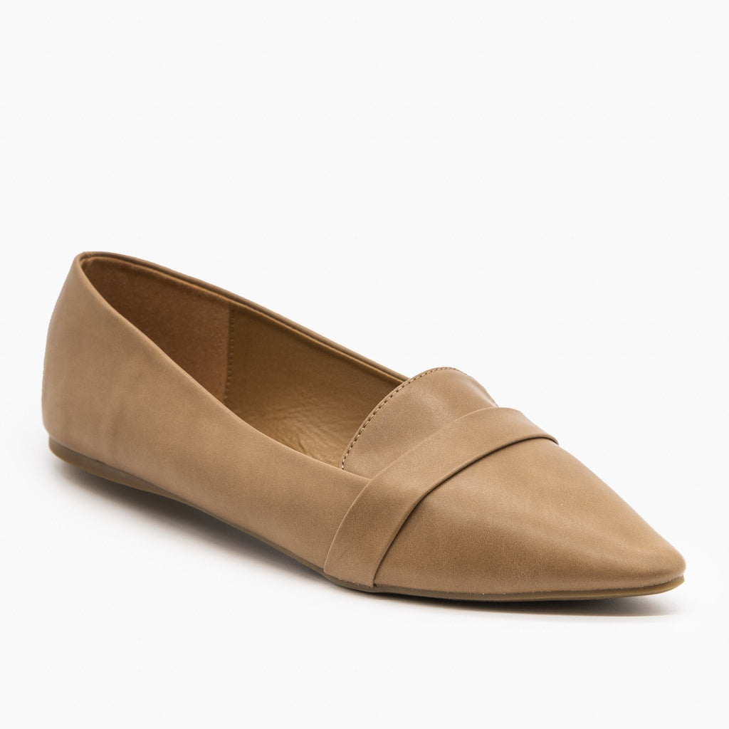 Womens Pointed Toe Slip-on Loafers - Refresh - Taupe / 5