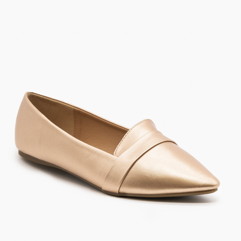 Womens Pointed Toe Slip-on Loafers - Refresh - Rose Gold / 5
