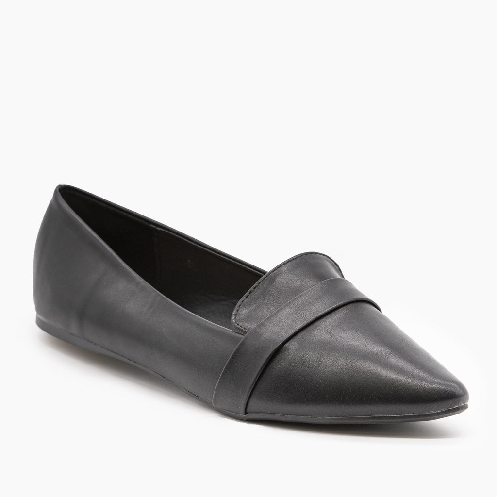 Womens Pointed Toe Slip-on Loafers - Refresh - Black / 5