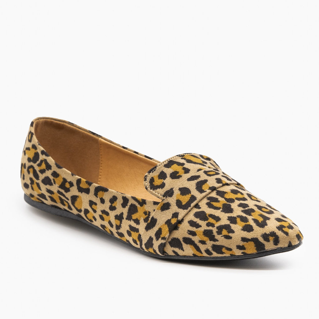 Womens Pointed Toe Slip-on Loafers - Refresh - Leopard / 5