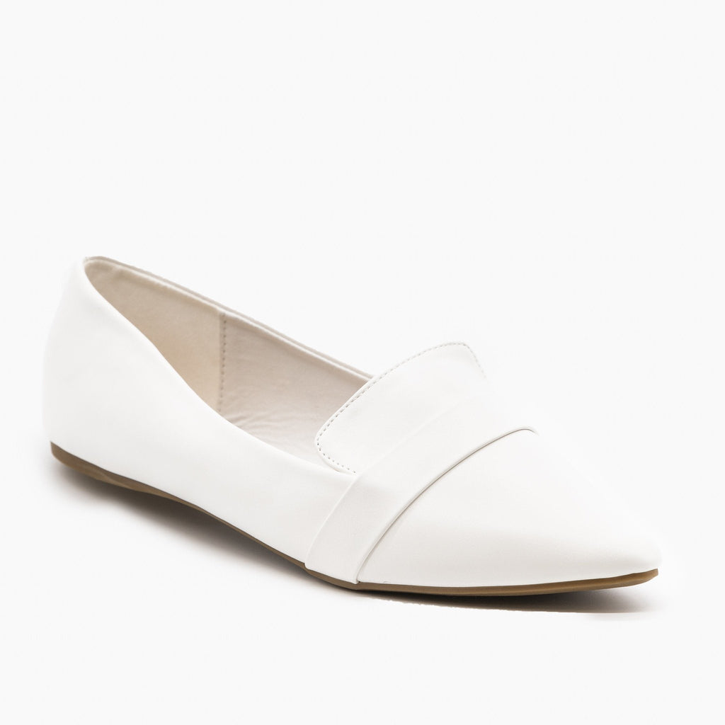 Womens Pointed Toe Slip-on Loafers - Refresh - White / 5