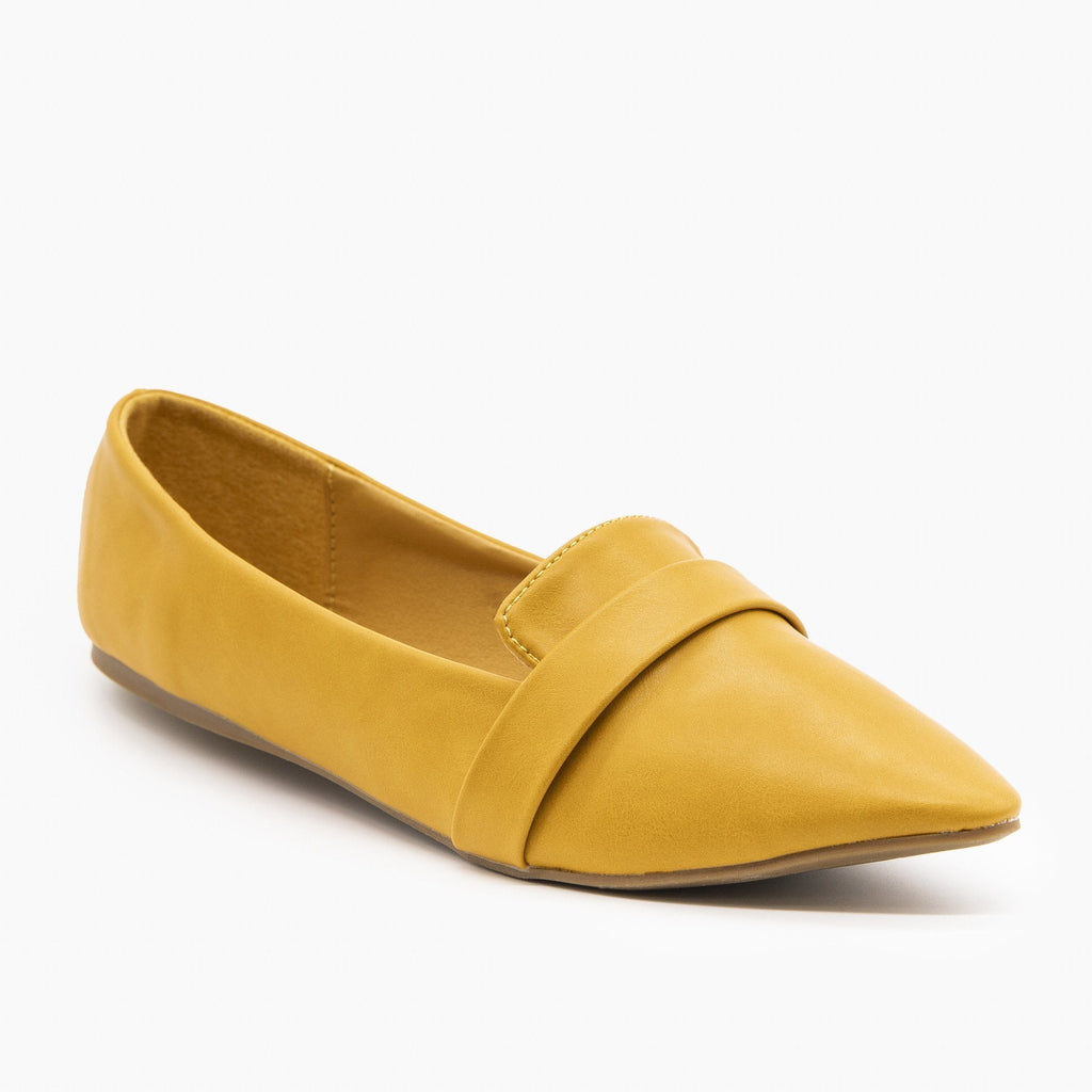 Womens Pointed Toe Slip-on Loafers - Refresh - Yellow / 5