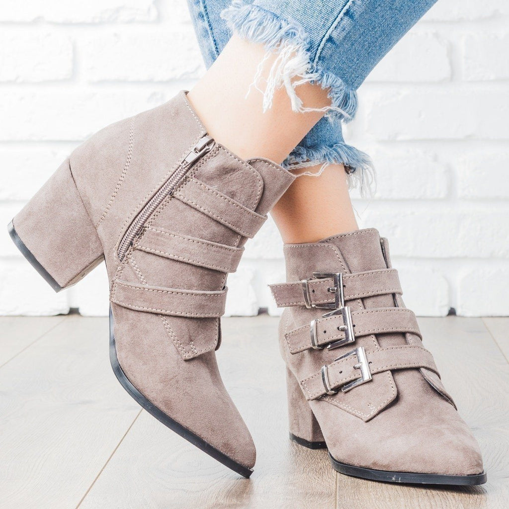 Womens Pointed Toe Triple Buckle Booties - Bamboo Shoes