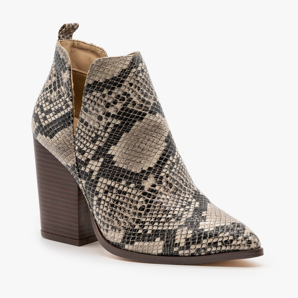 Womens Pointed Toe V-Cut Snakeskin Booties - Mata - Black Snake / 5