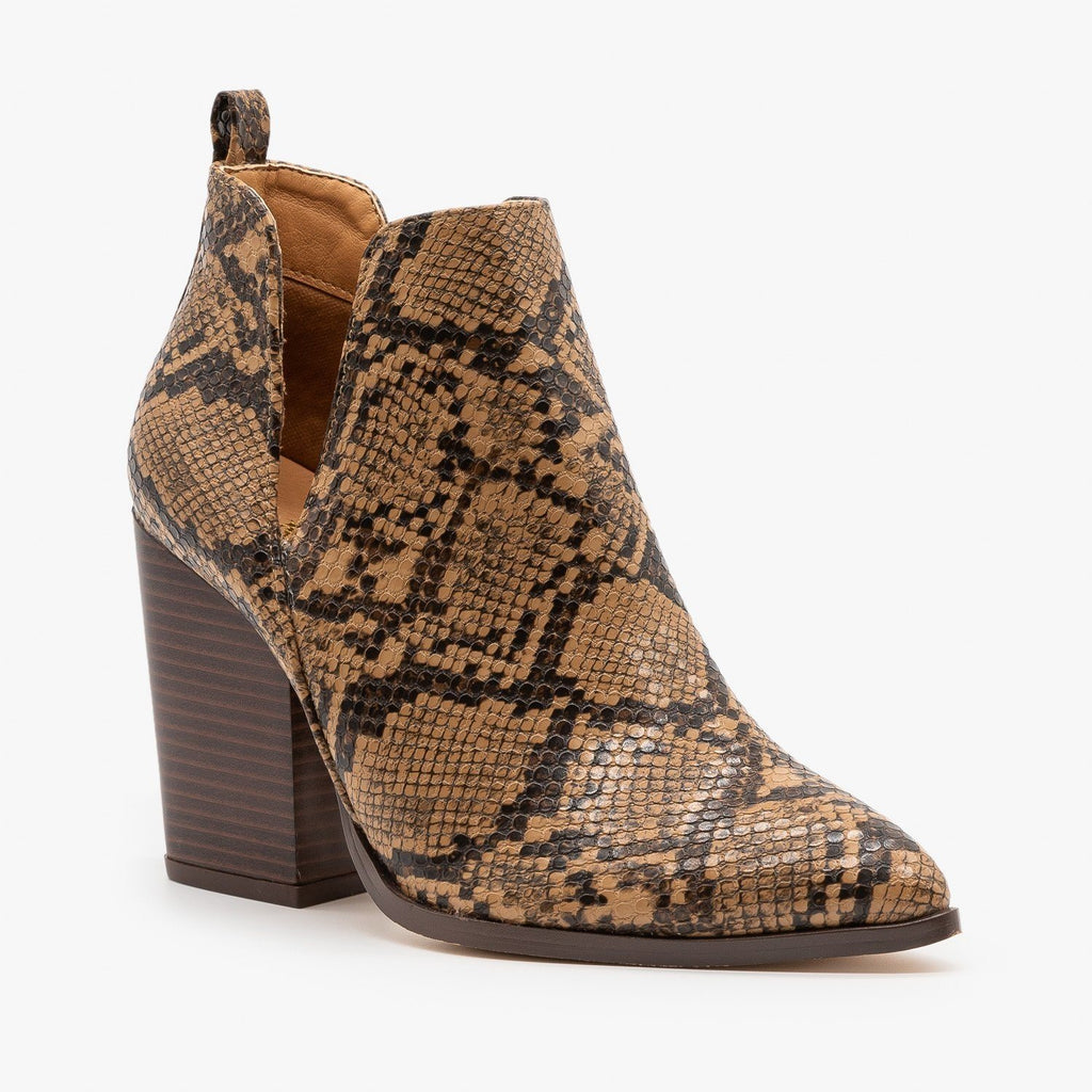Womens Pointed Toe V-Cut Snakeskin Booties - Mata - Beige Snake / 5