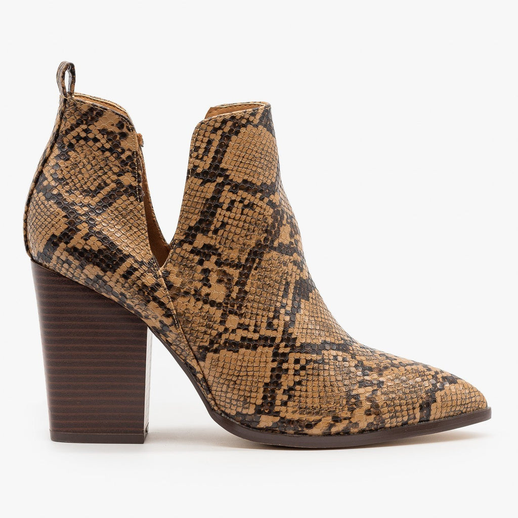 Womens Pointed Toe V-Cut Snakeskin Booties - Mata