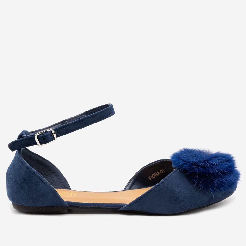 Women's Pom Pom Ballet Flats - Refresh - Navy / 5