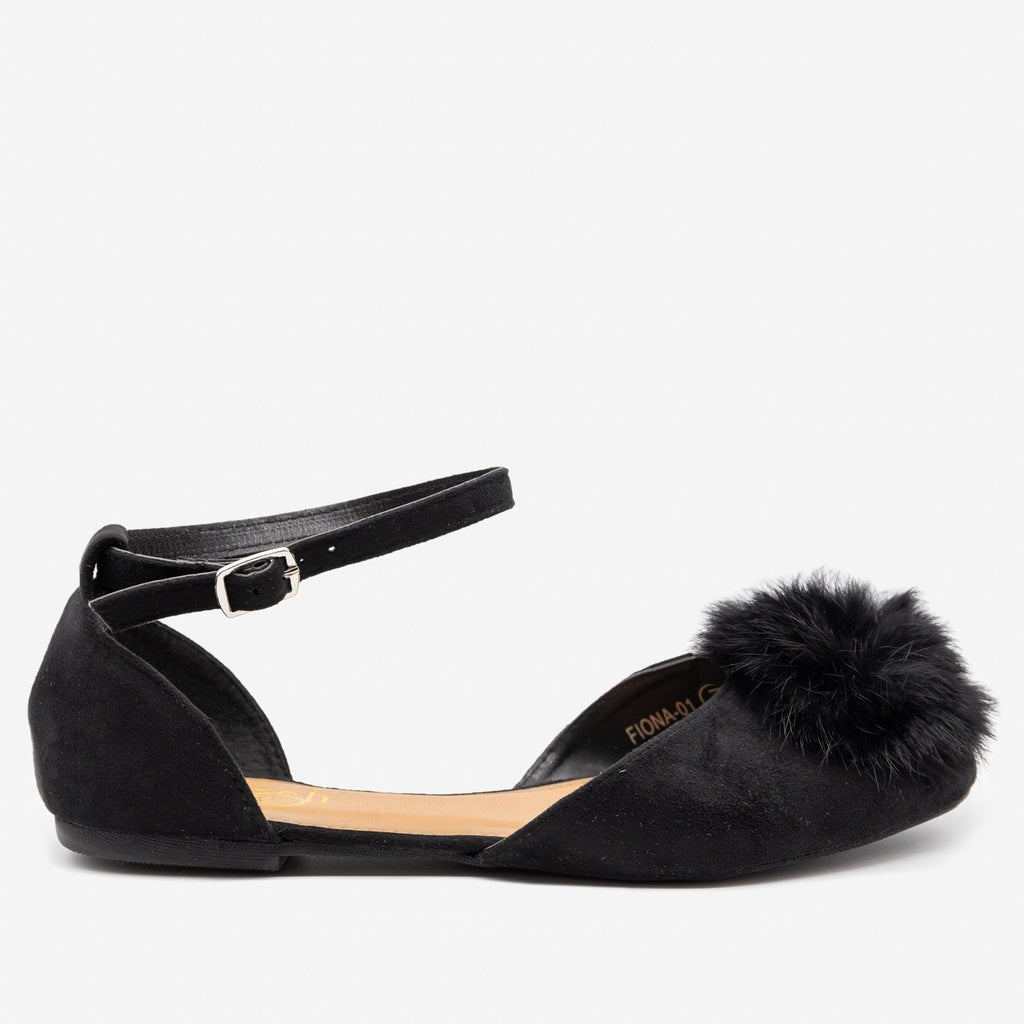Women's Pom Pom Ballet Flats - Refresh - Black / 5