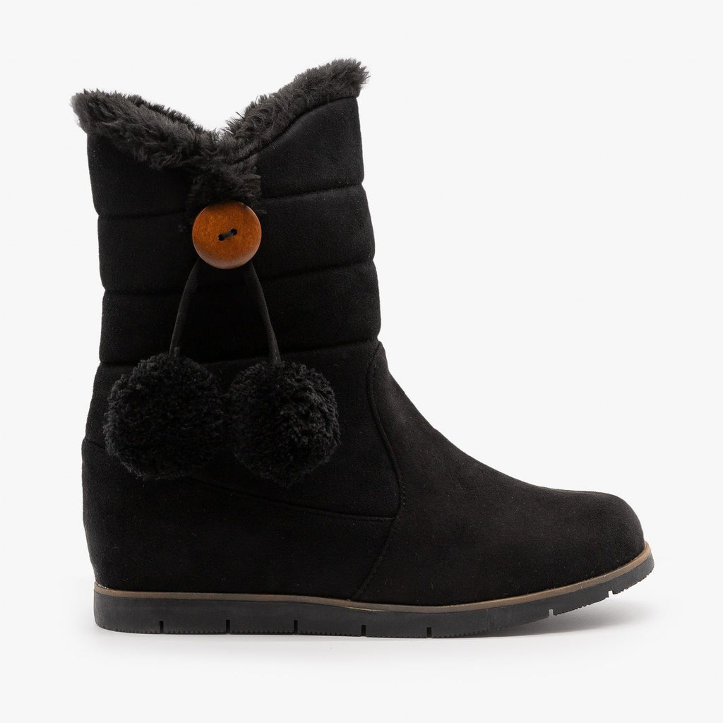 Womens Pompom Tassled Winter Boots - Lucita Shoes - Black / 5