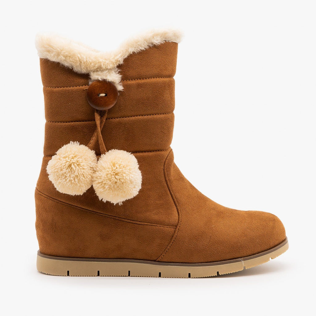 Womens Pompom Tassled Winter Boots - Lucita Shoes - Camel / 5