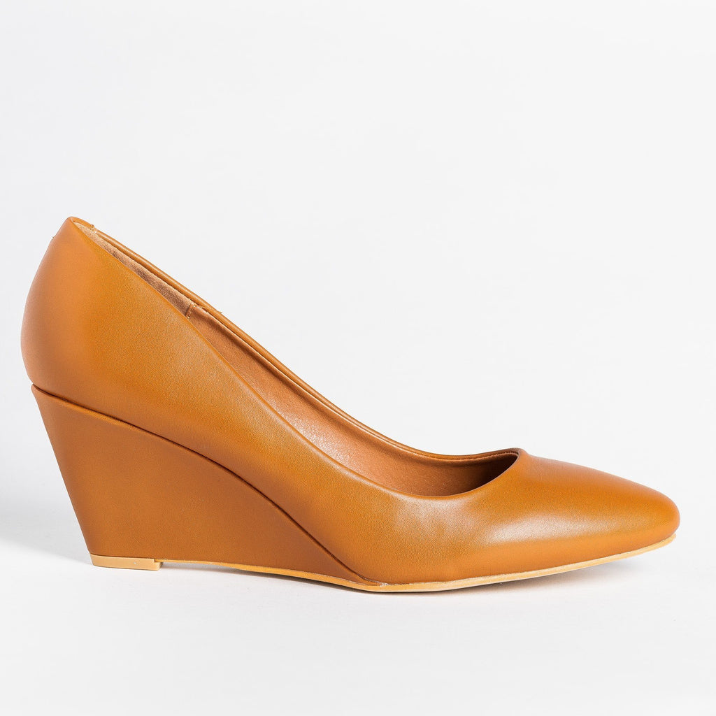 Womens Posh Almond-Toe Wedges - Weeboo - Cognac / 5