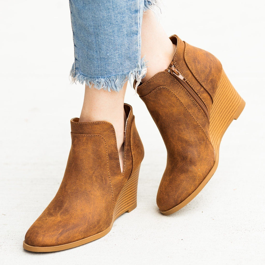 Womens Posh Ankle Bootie Wedges - Qupid Shoes - Camel / 5