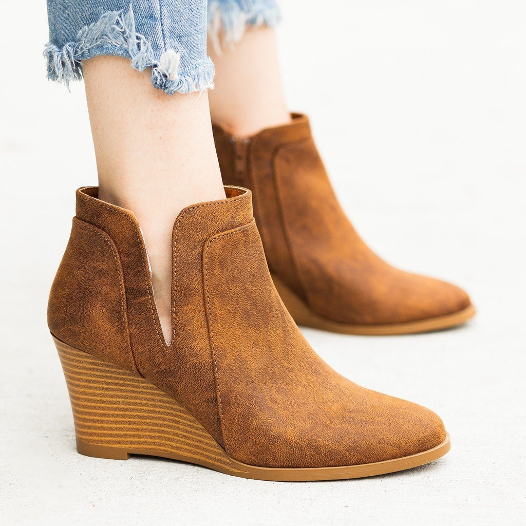 Womens Posh Ankle Bootie Wedges - Qupid Shoes