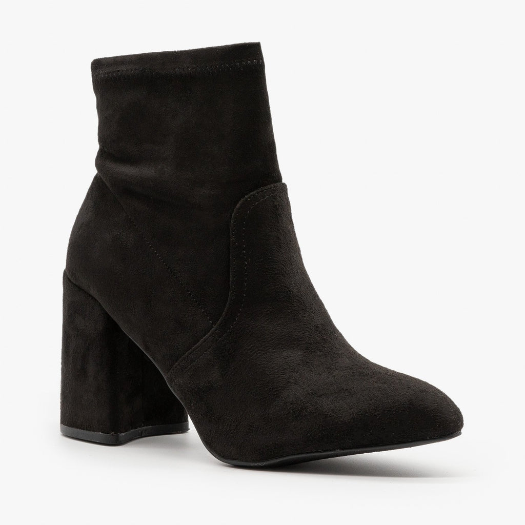 Womens Posh Ankle Booties - Qupid Shoes - Black / 5