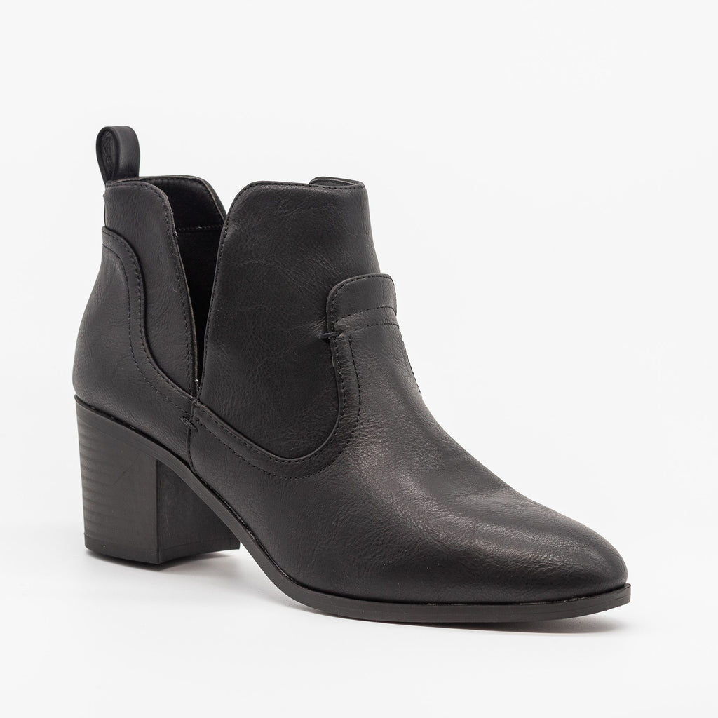 Womens Posh Burnished Toe Western Booties - Qupid Shoes - Black / 5