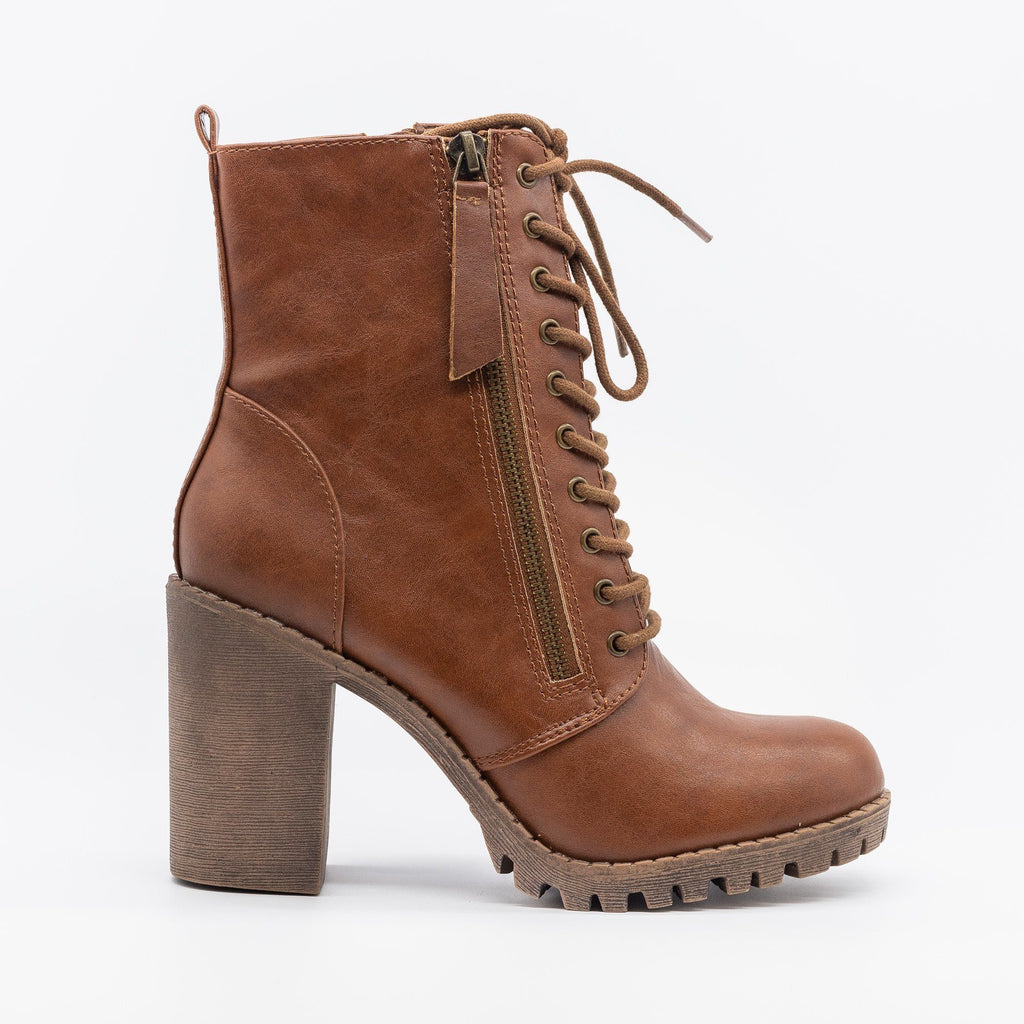 Womens Posh Capped Toe Lace-Up Boots - Soda Shoes - Tan / 5