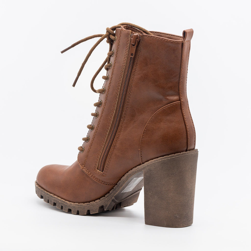 Womens Posh Capped Toe Lace-Up Boots - Soda Shoes