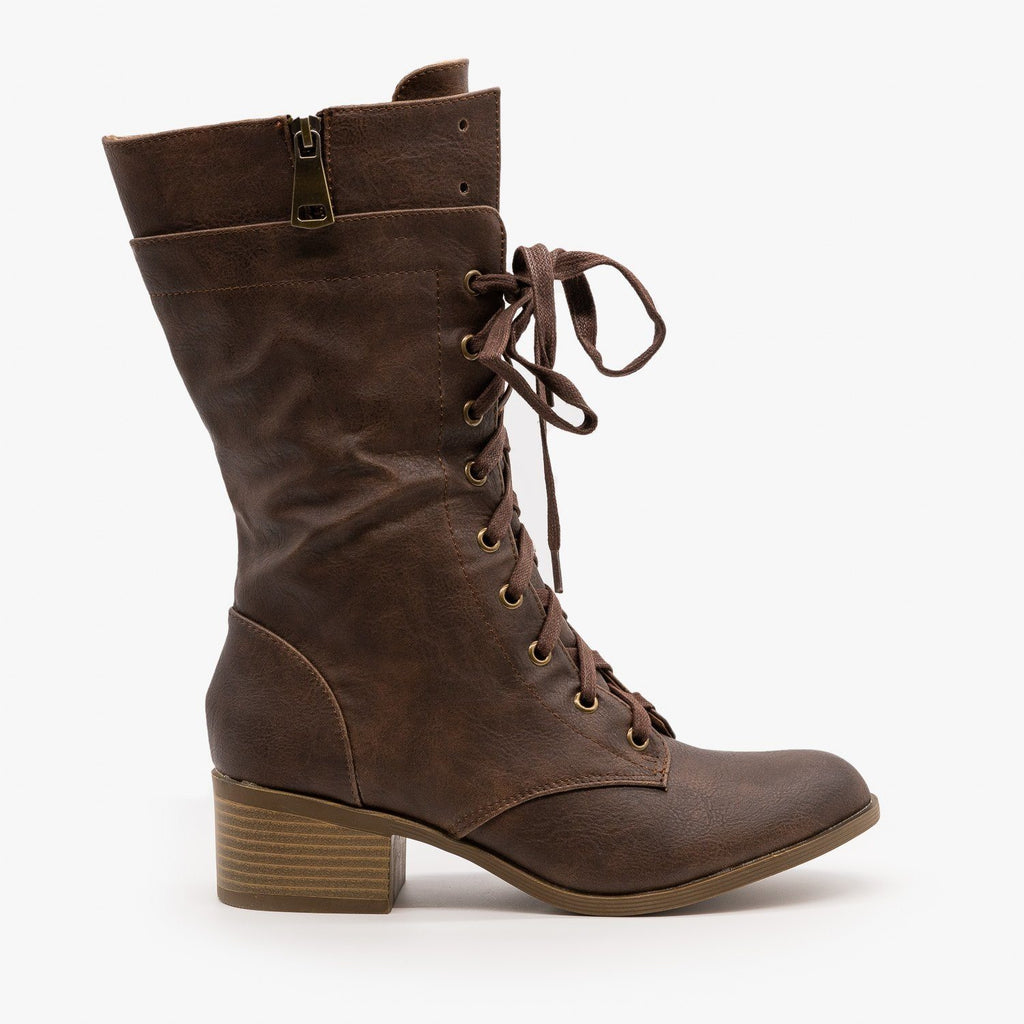 Womens Posh Chunky Heel Combat Boots - AMS Shoes - Brown / 5