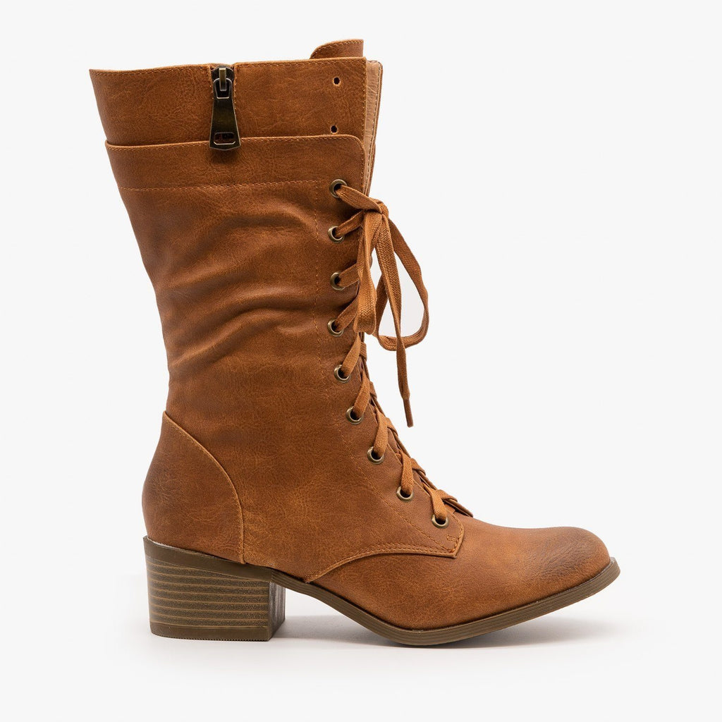 Womens Posh Chunky Heel Combat Boots - AMS Shoes - Tan / 5