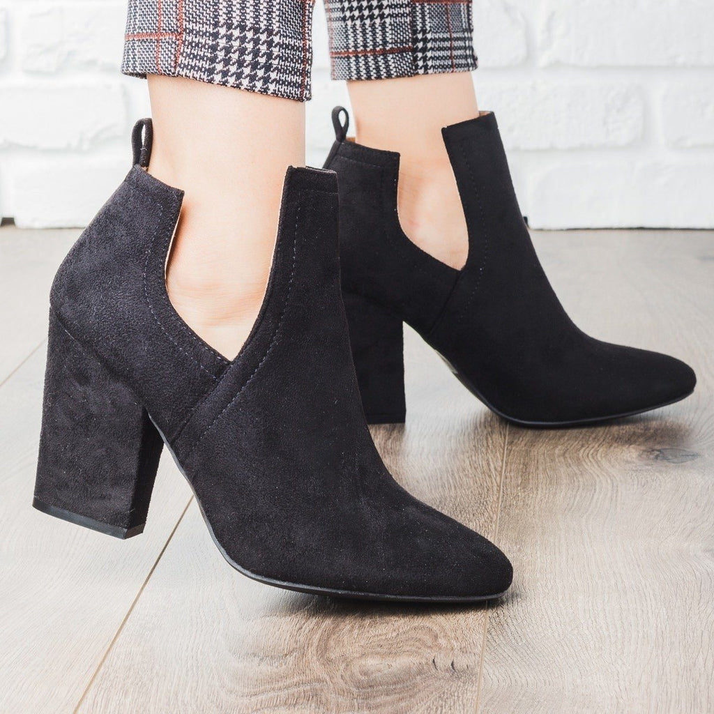 Womens Posh Cut-Out Bootie Heels - Qupid Shoes
