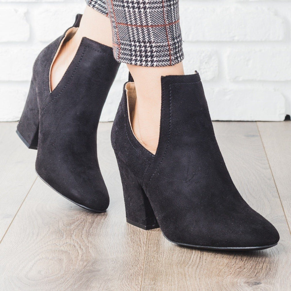 Womens Posh Cut-Out Bootie Heels - Qupid Shoes - Black / 7