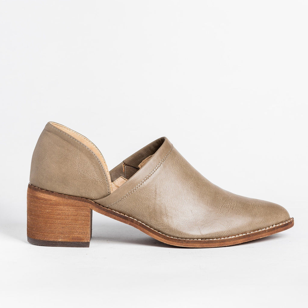 Womens Posh Cut-Out Fashion Heels - ARider Girl - Taupe / 5