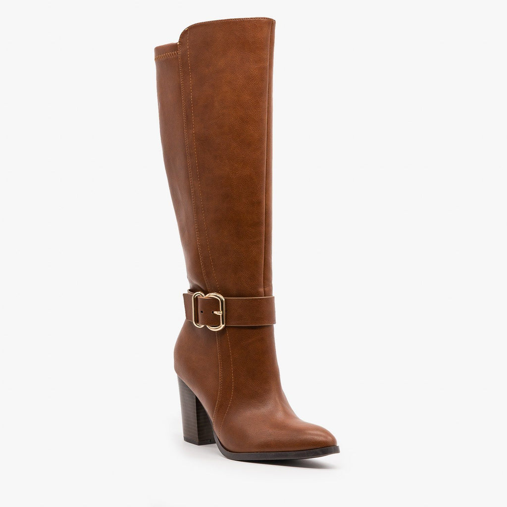 Womens Posh High Heel Buckled Boots - Delicious Shoes