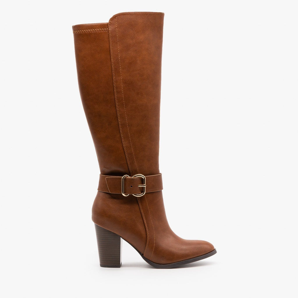 Womens Posh High Heel Buckled Boots - Delicious Shoes - Cognac / 5