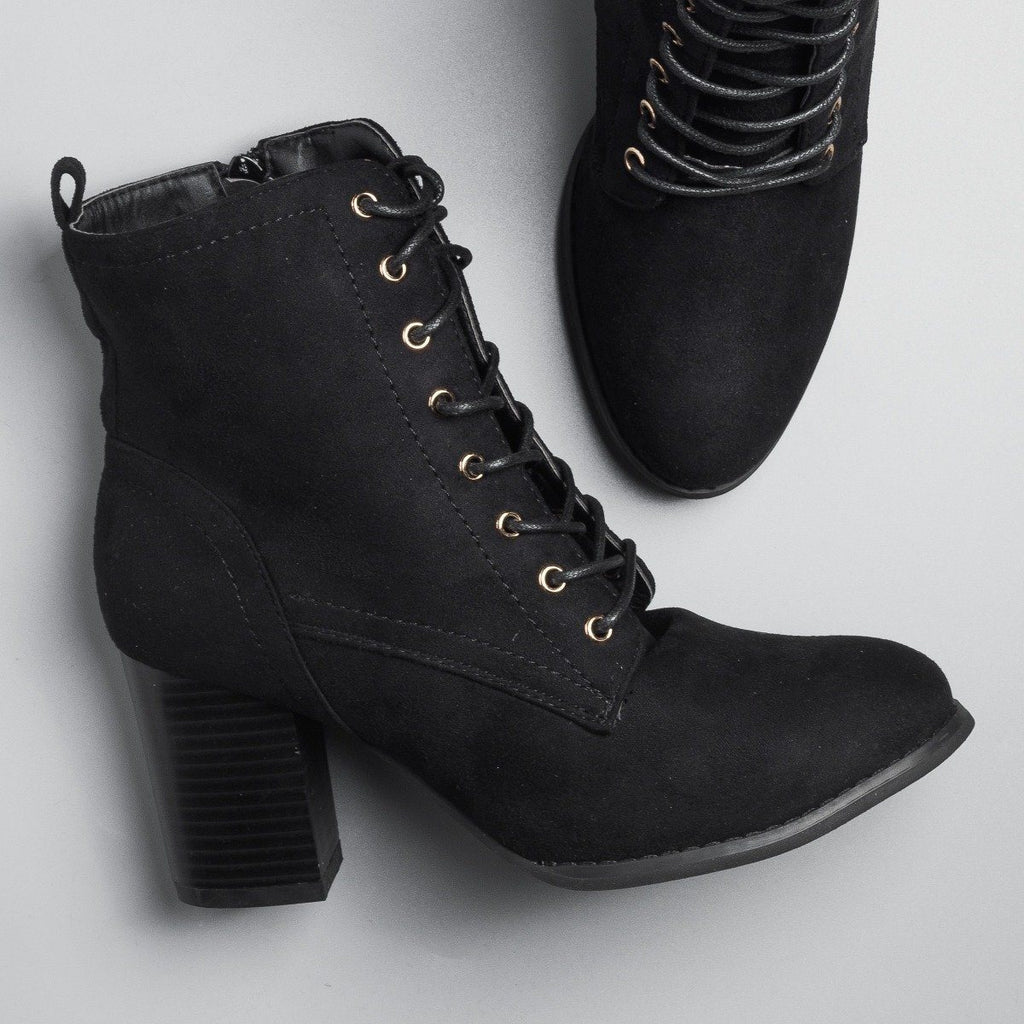 Womens Posh Lace-Up Ankle Booties - Glaze - Black / 5