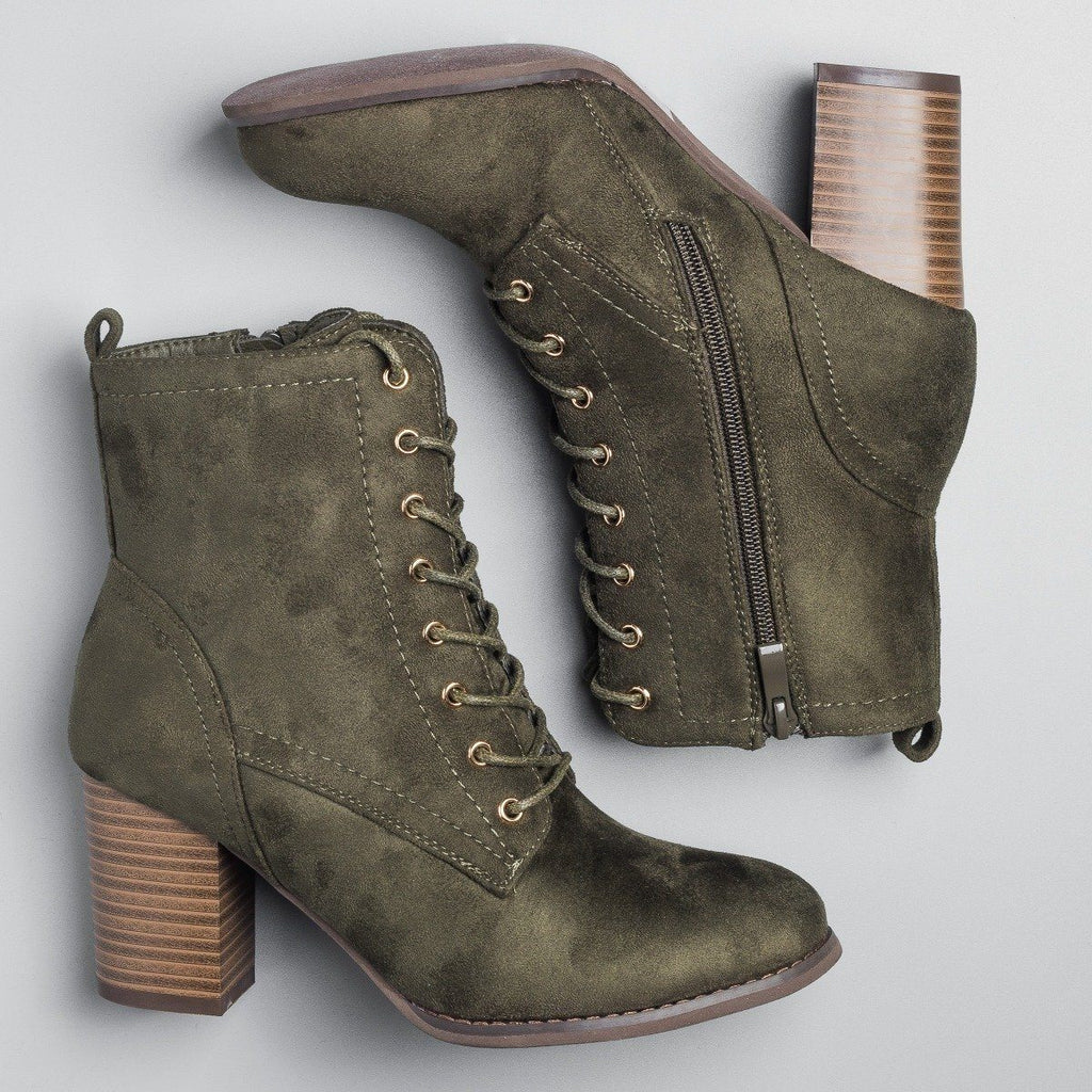 Womens Posh Lace-Up Ankle Booties - Glaze - Olive / 5