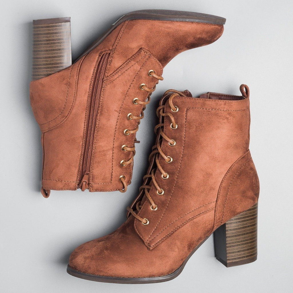 Womens Posh Lace-Up Ankle Booties - Glaze - Brown / 5