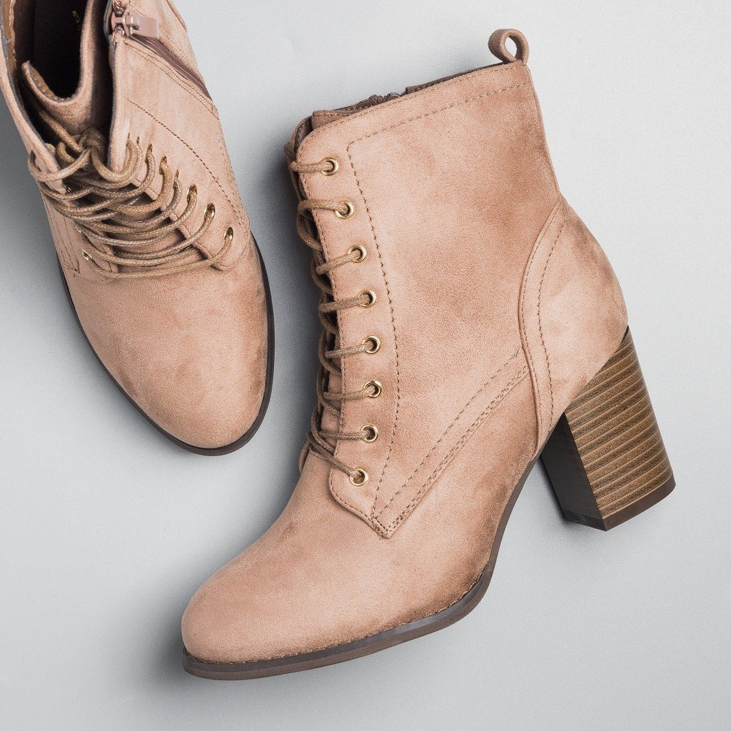 Womens Posh Lace-Up Ankle Booties - Glaze - Taupe / 5
