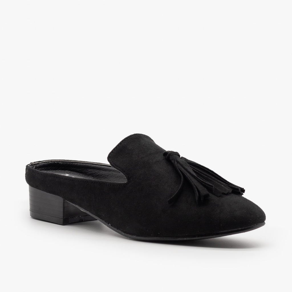 Womens Posh Loafer-Style Mules - ML Shoes - Black / 5