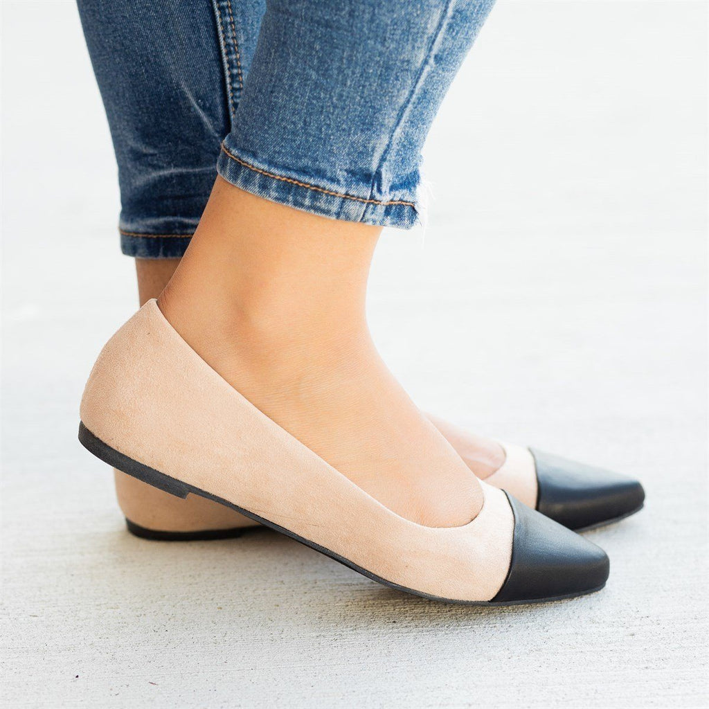 Womens Posh Pointed Capped Toe Flats - Bamboo Shoes