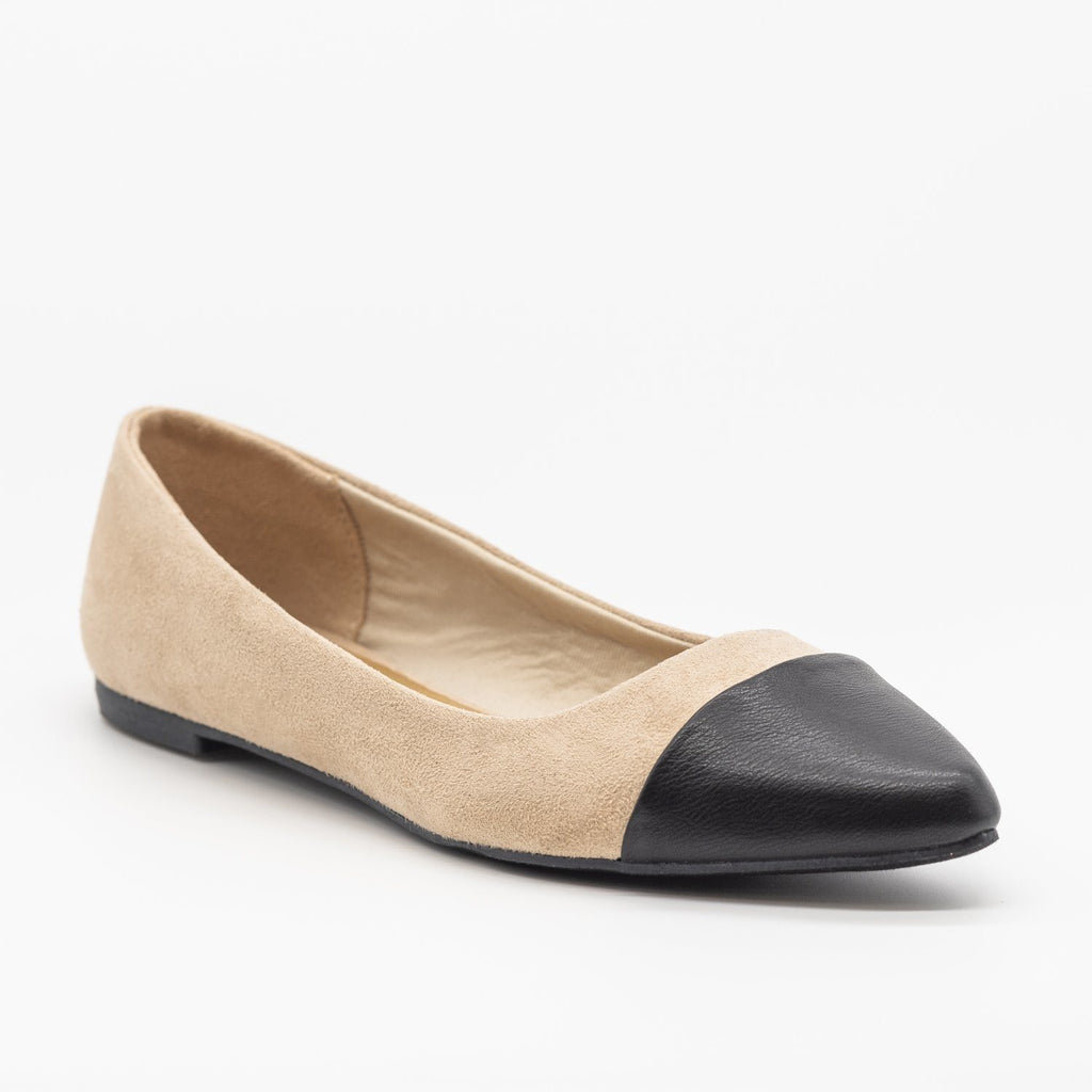 Womens Posh Pointed Capped Toe Flats - Bamboo Shoes - Nude / 5