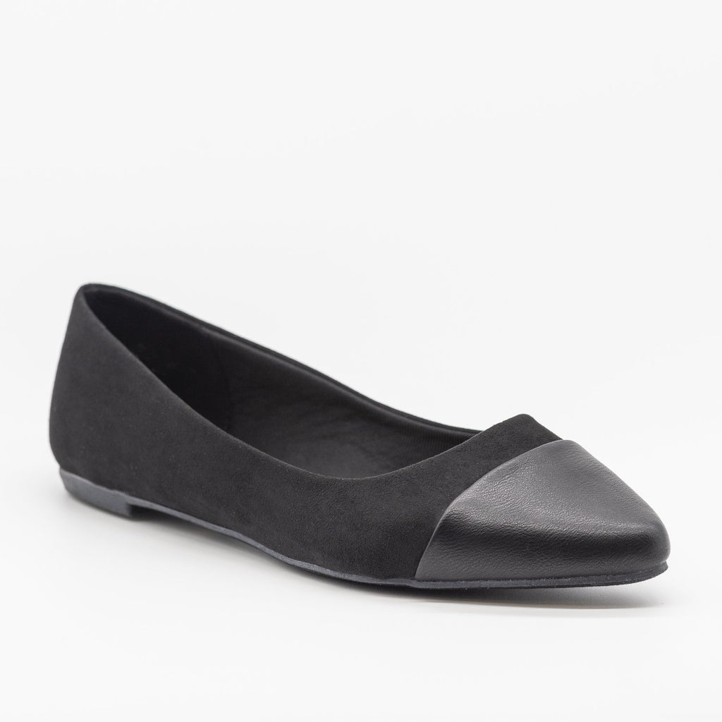 Womens Posh Pointed Capped Toe Flats - Bamboo Shoes - Black / 5