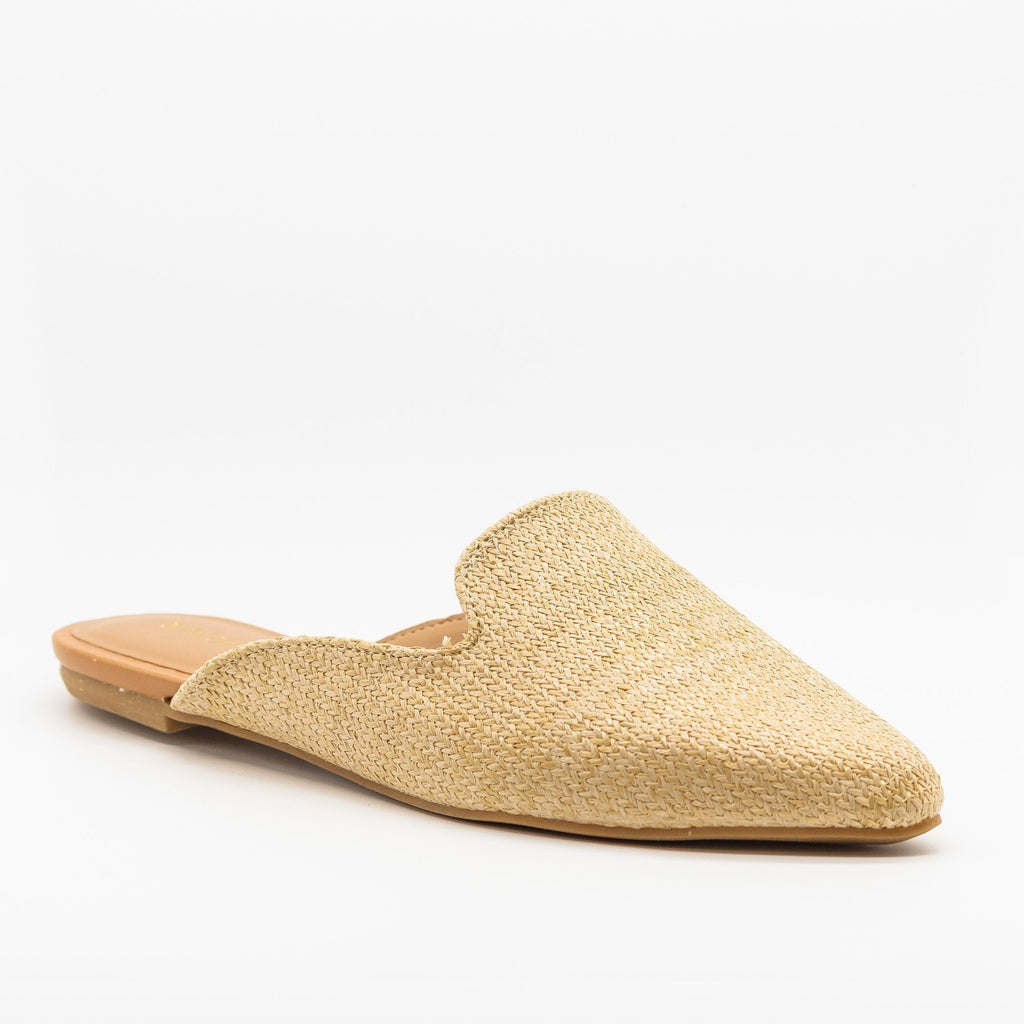 Womens Posh Pointed Toe Loafer Mule Flats - Bamboo Shoes - Natural / 5