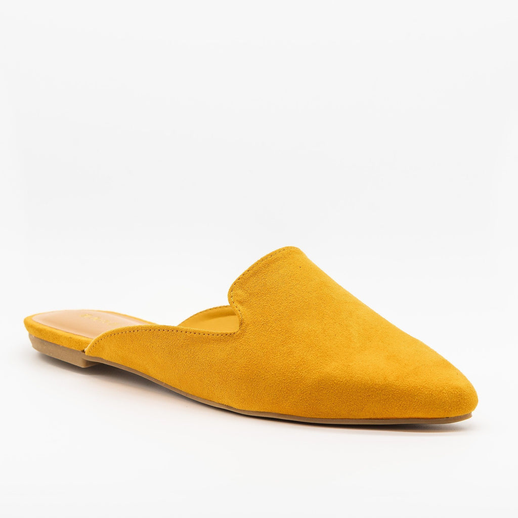 Womens Posh Pointed Toe Loafer Mule Flats - Bamboo Shoes - Marigold / 5