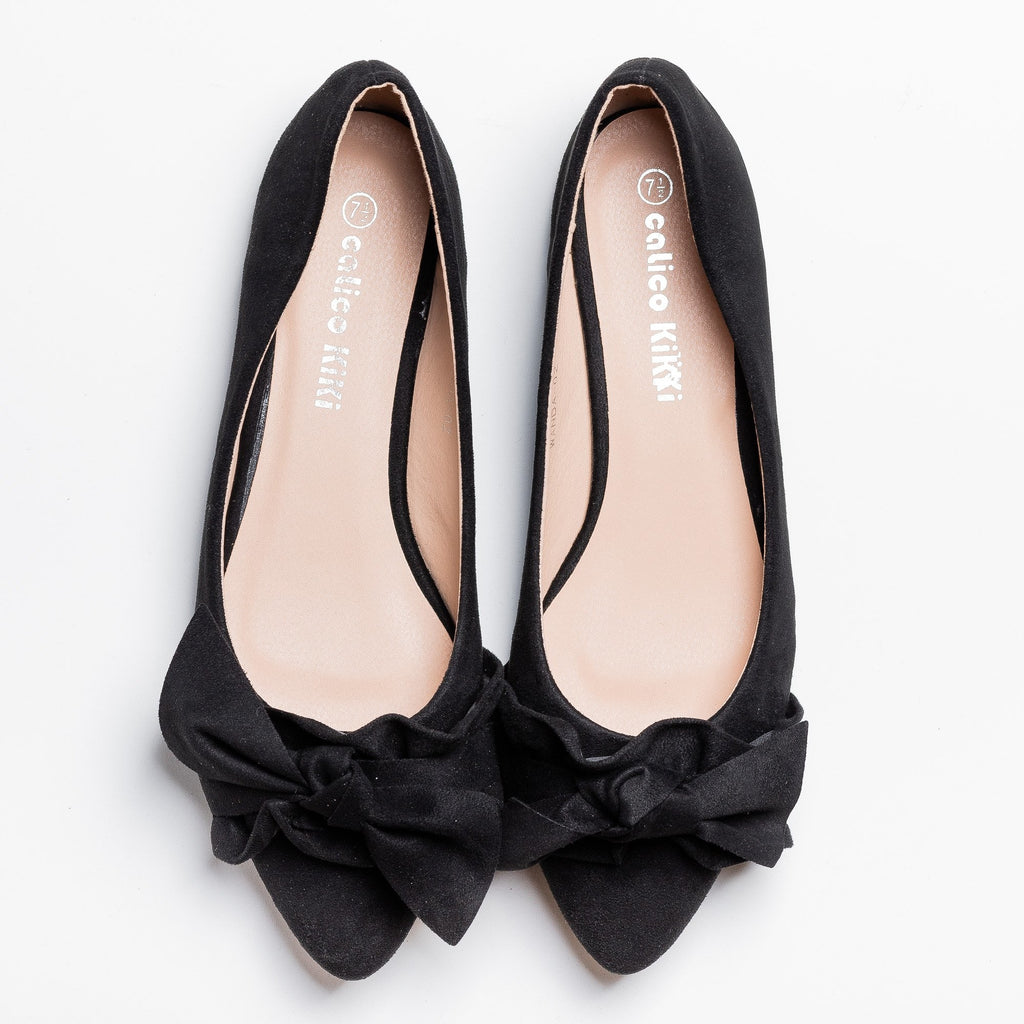 Womens Posh Ruffled Bow Flats - Calico Kiki - Black / 5