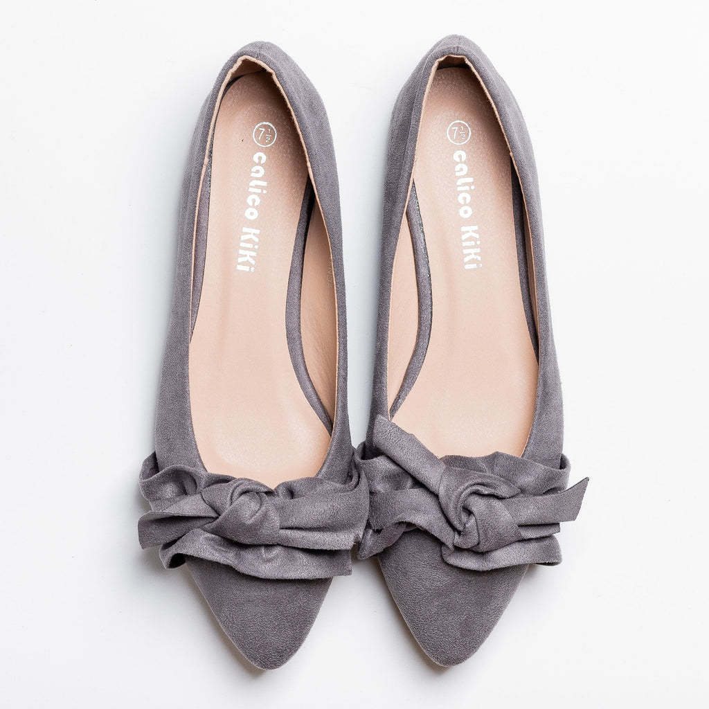 Womens Posh Ruffled Bow Flats - Calico Kiki - Gray / 5